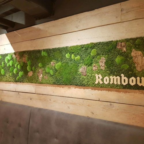 Mospaneel met Rombouts logo